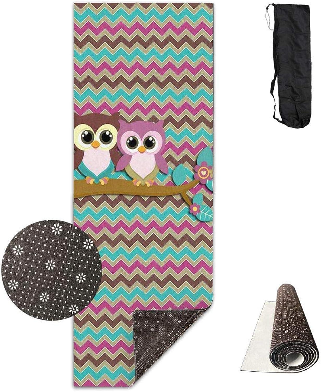 Non Slip Yoga Mat  Longer and Wider Owls Printed Yoga Mat Aerobic Exercise Mat Pilates Mat Baby Crawling Mat with Carrying Bag Great for Man Women Baby