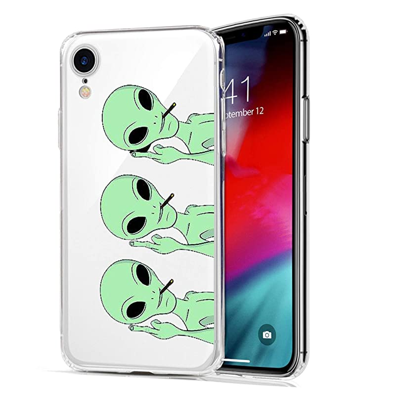 LEMONCOVER Phone Case for iPhone XR Case,Novelty Alien Pattern Soft Silicone Protective Skin Shockproof Clear Cool Art Middle Finger Design Bumper Back Cover for iPhone XR 9 (6.1 inches)