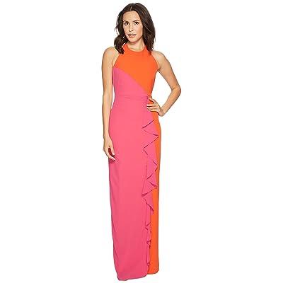 Nicole Miller Paolina Heavy Tech Crepe Cross-Back Gown (Orange/Very Berry) Women
