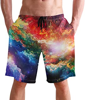 FFY Go Beach Shorts, Galaxy Printed Mens Trunks Swim Short Quick Dry with Pockets for Summer Surfing Boardshorts Outdoor W...