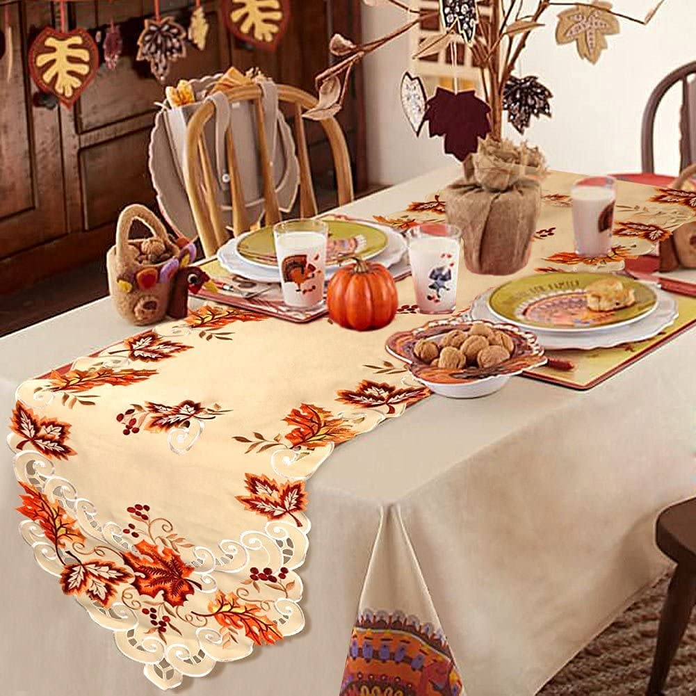 OurWarm Embroidered Fall Table Runner Thanksgiving Decor, 15 x 67 Inch Maple Leaves Table Runner for Fall Thanksgiving Autumn Decorations