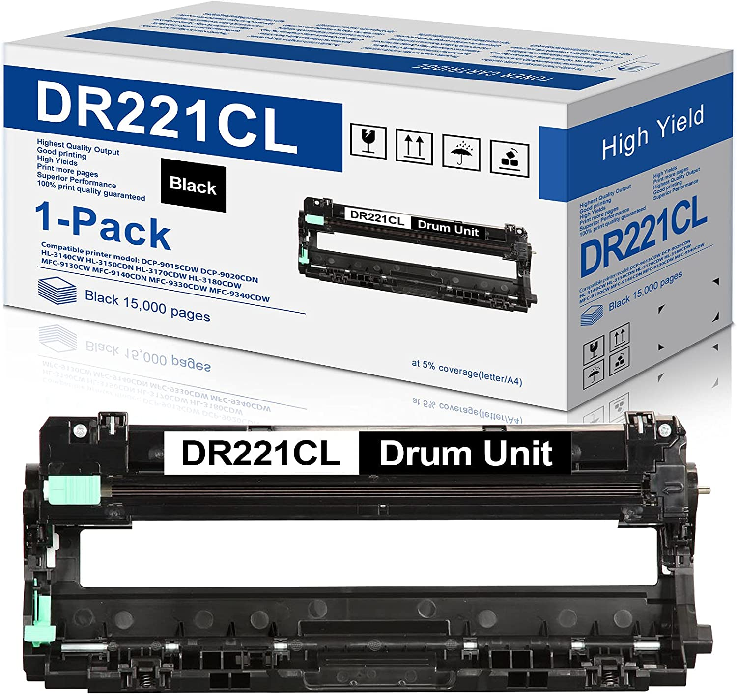 Compatible 1-Pack DR 221CL Black Drum Unit Replacement for Brother DR221CL DR-221CL HL-3170CDW MFC-9330CDW HL-3140CW MFC-9130CW Printer