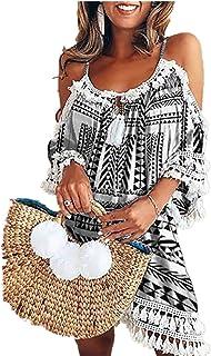 Koly-Damen Kleid Kleid Kolylong Damen Elegant Trägerloses Quaste Kurzarm Kleid Retro Schulterfrei Rückenfrei Kleider Kurz Boho Kleid T- Shirt Kleid Mini Sommerkleid Strandkleid Party Abendkleid