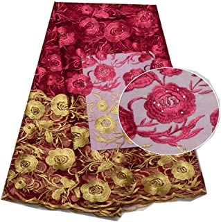 African Lace Fabrics Embroidery African Net Lace Fabric with Stoens Nigerian Lace Fabric (Color : ROSE RED, Size : 5YARDS)