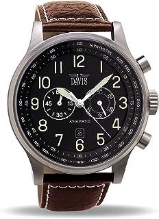 Davis Men's 0451 Aviator 48mm Watch Water-Resistant 50m Chronograph Brown Leather Strap