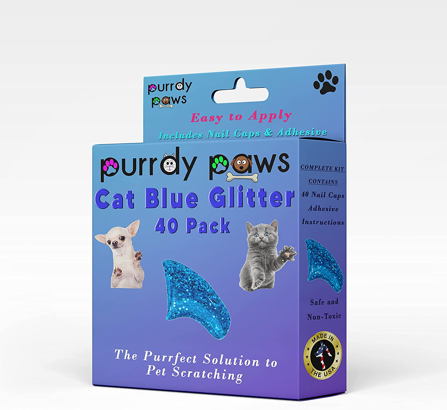 Purrdy Paws 40-Pack OFFer Soft Nail Caps Glitter for Blue Claws Selling Cat