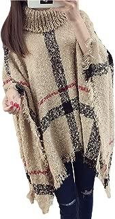 BoBoLily Maglioni Donna Autunno Invernali Maniche Tromba Rotondo Collo con Nappe Maglieria Pullover Eleganti Fashion Baggy Casual Accogliente Poncho Maglie Pullover A Maglia