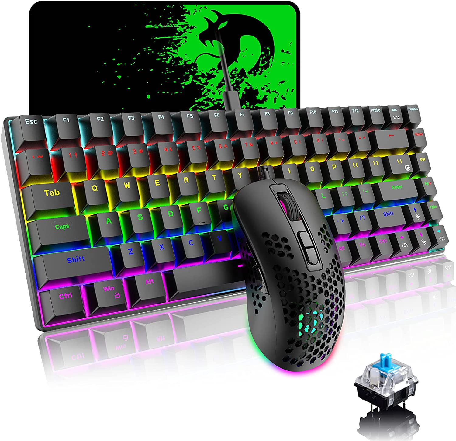 Mechanical Gaming Keyboard and Mouse Combo with 20 Rainbow Backlight 84 Key Anti-ghosting Ergonomic Waterproof Type-C Wired 6400 DPI Honeycomb Mice for PC Mac Gamer Computer Typist(Black/Blue Switch)