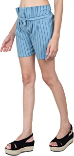 TNQ Women's Striped Belted Shorts with Elastic Waistband Free Size