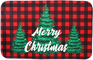 Gz party Merry Christmas Door Mat,18 x 30 Inch Winter Holiday Non-Skid Floor Mat Switch Mat Indoor Outdoor Home Garden, Easy to Clean Low Profile Mat for Entry Patio Garage High Traffic Areas (red)