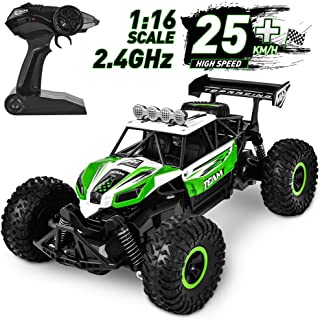 Fast Remote Control Car, Flyglobal 1:16 High Speed RC Cars for Boys Powerful Car Remote Control with 2 Rechargeable Batteries, Off Road RC Trucks Crawler All Terrain Dune Buggy Car for Kids Adults