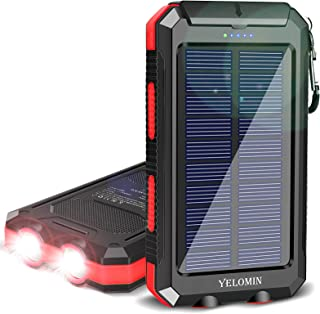 Solar Charger,YELOMIN 20000mAh Portable Waterproof Solar Power Bank for Cellphones External Backup Battery Pack Built-in D...