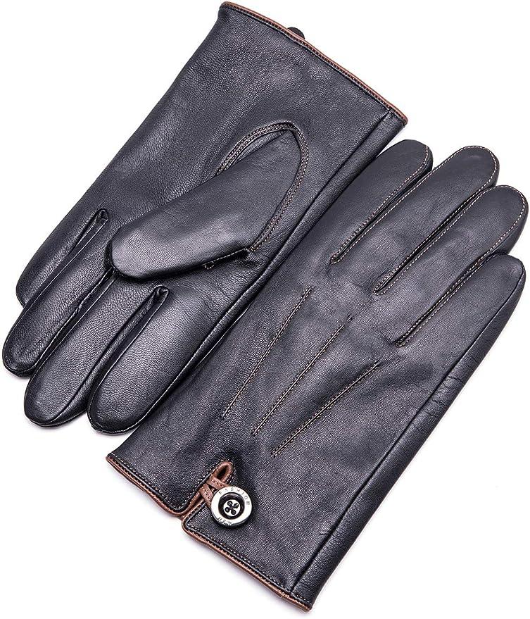Men's Steampunk Accessories: Googles, Cane, Gloves YISEVEN Winter Men's Lambskin Leather Gloves Warm Fleece Fur Lined Touchscreen  AT vintagedancer.com