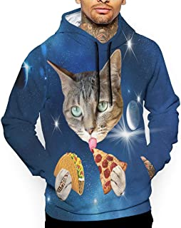 Unisex Space Cat with Taco and Pizza Hoodies Cute Pullover Hood Jackets Sweatshirt