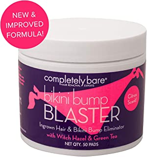 Completely Bare Bikini Bump Blaster Pads- All Natural Antioxidant Witch Hazel & Green Tea Prevent Ingrown Hairs and bumps, Gentle Exfoliating Treatment Wipes, Cruelty-Free Vegan Formula, 50 ct, 3pk