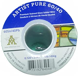 Artist Pure 60/40 Premium Stained Glass Solid Core Solder Wire, 1/8