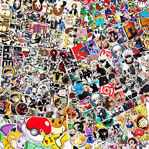 300pcs Mixed Anime Stickers,Classic Anime Stickers,Vinyl Waterproof Stickers,Anime and Cool Stickers Mixed Pack,Anime Sticker Pack for Laptop,Skateboard,Water Bottles,Computer,Phone,Kids Teens