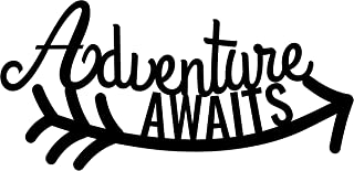 Adventure Awaits Metal Wall Art Sign  Silver  Nursery Decor  Room Decor  Wall Decoration  Baby Shower Gift  Handmade 17 12 x 9