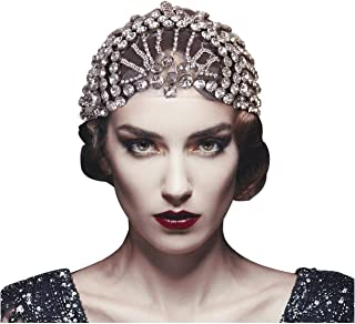 L'VOW Women's Vintage 1920s Headpiece Roaring 20s Crystal Tulle Belly Gatsby Flapper headband Turban Wrap (Type B)