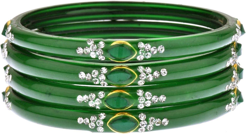 Efulgenz Indian Bollywood Wedding Bridal Rhinestone Crystal Acrylic Resin Bracelet Bangle Set Jewelry