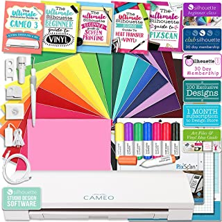 Silhouette Cameo 3 Bluetooth Educational Bundle with Studio 4.0 Software, Oracal Vinyl, Guides, Class, Membership