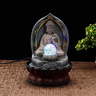 MATCHANT Chinese Lucky Buddha Statue Figurines Resin Craft Home Decoration Water Fountain Office Tabletop Water Ornament Wedding Gift