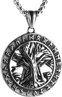 HZMAN Norse Vikings Runes Amulet Pendant Necklace The Tree of Life Pentagram Runes Pendant Necklace Nordic Talisman