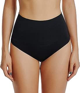 Thong Underwear for Women Thongs Shapewear High Waist Cincher Panty Tummy Slimmer Sexy Panties Seamless (Black-2, Large)