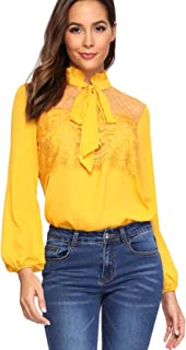 Women's Long Sleeve Bow Tie Mesh Chiffon Blouse Top