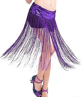 Lady's Belly Dance Stretch Sequins Fringe Tassel Brilliant Hip Scarf Clubwear Belt Skirt Free Size (Purple)