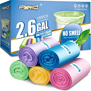 Small Trash Bag, 2.6 Gallon Garbage Bags FORID Bathroom Trash can Liners for Bedroom Home Kitchen 150 Counts 5 Color