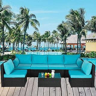 YOLENY 7 PCs Outdoor Sectional Sofa Patio Furniture, PE Rattan Wicker Sofa, Patio Furniture Sets