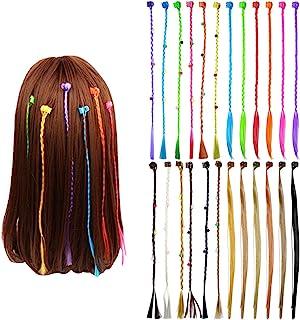 24 Piezas Neón Extensiones Colores Niña, Extensión de Cabello Trenzas Postizas Accesorios de Peinado de Cabello con Mini C...