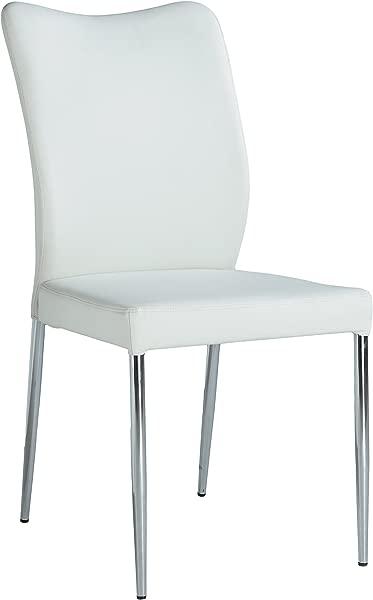 Milan Noel Curvy Back Side Chair Set Of 2 White