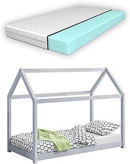 [en.casa] Barnsäng med madrass 70 x 140 cm trä hus design tallträ säng träsäng hussäng kall skummadrass Eko-Tex standard 1...