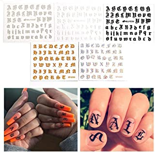 FOONEE Nail Art Design Stickers, Alphabet Nail Deca Halloween Nail Art Self-Adhesive Stickers Decals For Women Girls Kids Manicure DIY Or Nail Salon, Pack Of 5 Pcs