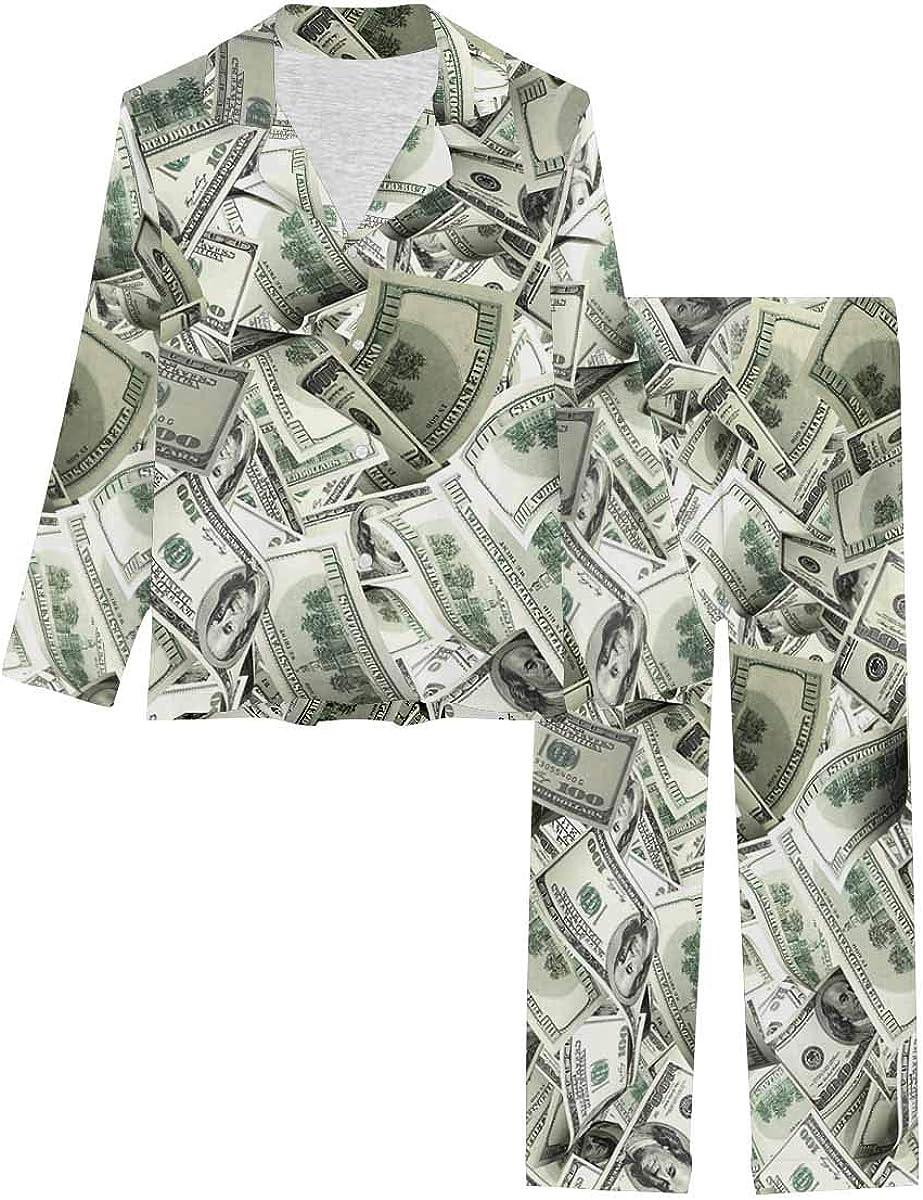 InterestPrint Long Sleeve Nightwear Button Down Loungewear for Women Funny Flying Banknotes of Dollars Currency Money
