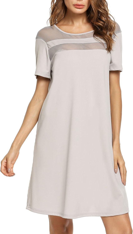 BEAUTYTALK Women's Casual Swing Tunic Short Sleeve Loose TShirt Dress