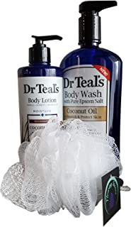 Dr Teal's Coconut Body Wash and Lotion Bundle with Flowing Stones Pouf Loofah Sponge