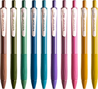 Writech Retractable Gel Pens Quick Dry Ink Pens Fine Point 0.5mm 10 Assorted Unique Vintage Colors For Journaling, Drawin...