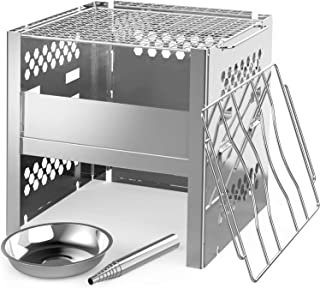 Ohuhu Wood Burning Camp Stoves Portable Folding Stainless Steel Backpacking Stove with Adjustable Ash Catcher, Grill Grid,...