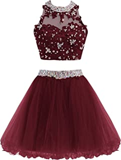 Momoai Two Piece Prom Dresses Short Beading Homecoming Ball Gowns M005