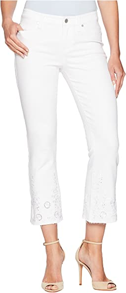 Hannah Crop Flare with Embroidery in Comfort Stretch Denim in Bright White
