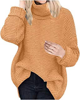 Women Sweaters Crewneck Wainter Warm Solid Casual Fashion Baggy Long Sleeve Plus Size Easy Knit Pullover Jumper Tops
