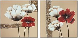Cuadros de flores roja y blancas, moderno, Giclée, enmarcado, lienzos, impresión, ilustraciones, 2paneles, pinturas al óleo abstractas, florales, impresión de fotos sobre lienzo, arte de pared para decorar el dormitorio, de Wieco Art