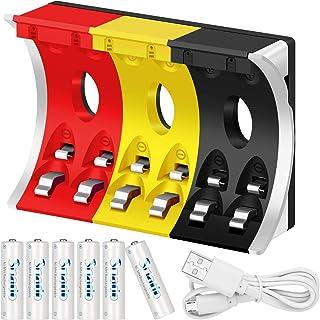 Snado 600 mAh Ni-MH AA uppladdningsbara batterier (6-pack) och laddningsbar AA AAA batteriladdare (1 x laddare + 6 x AA)