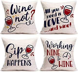 Asamour All You Need is Love and Wine Funny Letters Series Cotton Linen Throw Pillow Case Cushion Cover Square Pillowcase ...