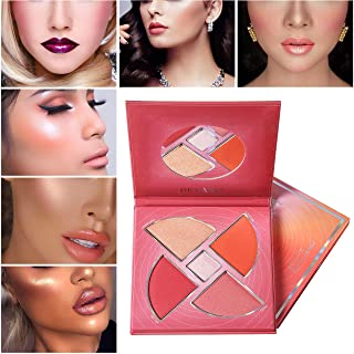 Blush Highlight Palette,DE'LANCI Matte Blush Highlighter Shimmer,Face Contour Highlight Palette Blush Pink Red Gold Rose Eye Highlighting Natural Light Cosmetic Makeup Pallet