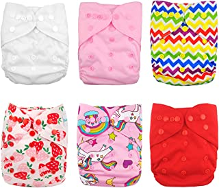 Babygoal Cloth Diaper Covers for Girls,Baby Adjustable Reusable Covers for Fitted Diapers and Prefolds, Baby Girl Clothes, 6pcs Covers+One Free Wet Bag 6DCF01