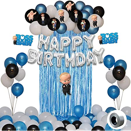 Party Propz Boss Baby Theme Decorations Combo Set -52Pcs Happy Birthday Foil Balloon; Blue White BlackMetallic Balloons; Boss Baby Character; Foil Curtain Set for Boys Bday Decorations Items for Kids